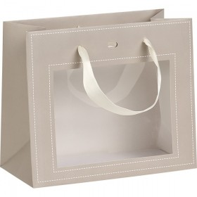 Sac carton fenetre PVC gris - Lot de 12