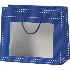 Sac papier fenetre PVC bleu - Lot de 12