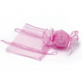 Sac en organza forme bonbon rose - Lot 10