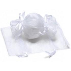 Sac en organza forme bonbon blanc - Lot 10